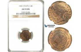 R228, Straits Settlements, Victoria, 1/4 Cent 1884, NGC AU55BN
