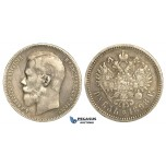 R23, Russia, Nicholas II, Rouble 1898 (АГ) St. Petersburg, Silver, Toned and nice!