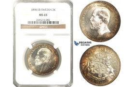 R230, Sweden, Oscar II, 2 Kronor 1898 EB, Stockholm, Silver, NGC MS65 (Pop 1/2, no finer)
