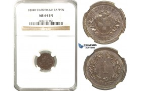 R231, Switzerland, 1 Rappen 1894-B, Bern, NGC MS64BN (Pop 1/1, No Finer)