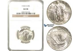 R233, United States, Standing Liberty Quarter (25C.) 1920-D, Denver, Silver, NGC AU58