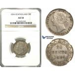 R234, Newfoundland, Victoria, 20 Cents 1894 (Obv.: 1) Silver, NGC AU50 Rare!