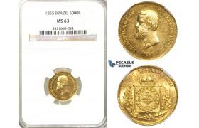R30, Brazil, Pedro II, 5000 Reis 1855, Gold, NGC MS63