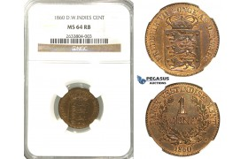R304, Danish West Indies, Frederik VII, 1 Cent 1860, NGC MS64RB