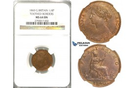 "R307, Great Britain, Victoria, Farthing 1860 ""TB/TB"" NGC MS64BN"
