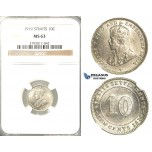 R315, Straits Settlements, George V, 10 Cents 1919, Silver, NGC MS63