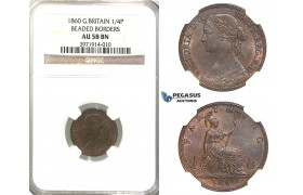 R318, Great Britain, Victoria, Farthing 1860 (BB/BB) NGC AU58BN