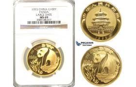 "R32, China, ""Panda"" 100 Yuan 1993 (Large date) Gold (1 oz.) NGC MS69"