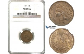 "R322, United States, ""Indian Head"" Cent 1876, NGC AU58BN"