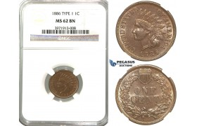 "R323, United States, ""Indian Head"" Cent 1886 Type 1, NGC MS62BN"