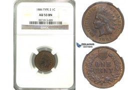 "R324, United States, ""Indian Head"" Cent 1886 Type 2, NGC AU53BN"