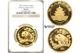 "R33, China, ""Panda"" 100 Yuan 1997 (Large date) Gold (1 oz.) NGC MS69"
