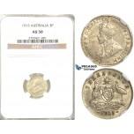 R331, Australia, George V, Three Pence (3 Pence) 1915, Silver, NGC AU50