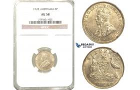 R332, Australia, George V, Sixpence (6 Pence) 1928, Silver, NGC AU58