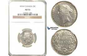 R333, Canada, Victoria, 25 Cents 1874-H, Heaton, Silver, NGC AU53