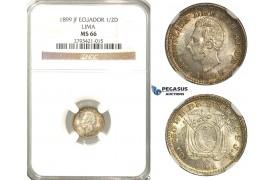 R334, Ecuador, 1/2 Decimo 1899-JF, Lima, Silver, NGC MS66 (Pop 1/1, No finer!)