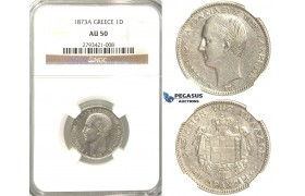 R336, Greece, George I, 1 Drachm 1873-A, Paris, Silver, NGC AU50