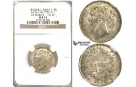 R338, East India Company (British) Victoria, 1/2 Rupee 1840 (B&C) 24b. W.W, Silver, NGC MS63