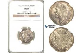 R339, Liechtenstein, Johann, 1 Krone 1900, Silver, NGC MS65