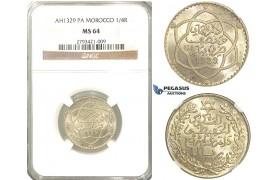 R340, Morocco, Abd al-Hafiz, 1/4 Rial AH1329-Pa, Paris, Silver, NGC MS64 (Pop 1/1, No Finer!)