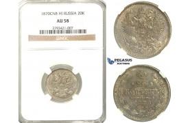 R343, Russia, Alexander II, 20 Kopeks 1870 СПБ-HI, St. Petersburg, Silver, NGC AU58