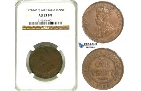 R345, Australia, George V, Penny 1924 (M&S) NGC AU53BN