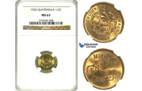 R350, Guatemala, 1/2 Centavo de Quetzal 1932, NGC MS63
