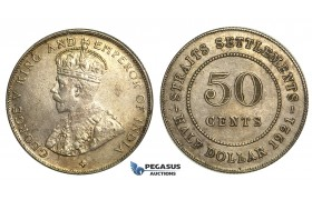R354, Straits Settlements, George V, 50 Cents 1921, Silver, Toned High Grade!
