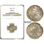 R359, United States, Liberty Seated Dime (10C) 1886, Silver, NGC MS62