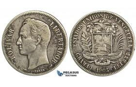 R366, Venezuela, 2 Bolivares 1905, Paris, Silver
