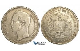 R368, Venezuela, 5 Bolivares 1910, Paris, Silver