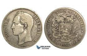 R373, Venezuela, 5 Bolivares 1936, Silver