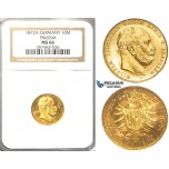R38, Germany, Prussia, Wilhelm I, 10 Mark 1872-A, Berlin, Gold, NGC MS66