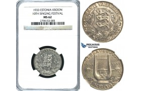 R382, Estonia, 1 Kroon 1933 (10th Singing Festival) Silver, NGC MS62