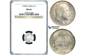 R385, India (British) Edward VII, 2 Annas 1905 (C) Calcutta, Silver, NGC MS64
