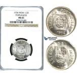 R386, India (Portuguese) 1/2 Rupia 1936, Silver, NGC MS65