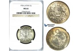 R387, Latvia, 2 Lati 1926, Silver, NGC MS64