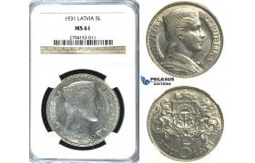 R388, Latvia, 5 Lati 1931, Silver, NGC MS61