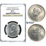 R389, Lithuania, Republic Anniversary, 10 Litu 1938, Silver, NGC MS61