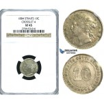 R392, Straits Settlements, Victoria, 10 Cents 1884 (Crosslet 4) Silver, NGC XF45