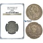 R395, Venezuela, 2 Bolivares 1904 (Small 0 Small 4) Silver, NGC XF40