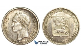 R403, Venezuela, 1/4 Bolivar 1900, Paris, Silver, High Grade (Minor cleaning)