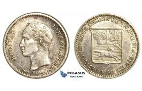 R403, Venezuela, 1/4 Bolivar 1900, Paris, Silver, High Grade (Minor cleaning)