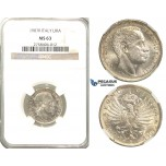 R41, Italy, V. Emanuele III, 1 Lira 1907-R, Rome, Silver, NGC MS63