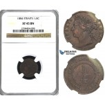 R411, Straits Settlements, Victoria, 1/4 Cent 1884, NGC XF45BN