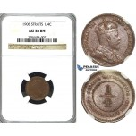 R412, Straits Settlements, Edward VII, 1/4 Cent 1908, NGC AU58BN