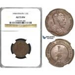 R413, Straits Settlements, Edward VII, 1/2 Cent 1908, NGC AU55BN