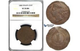 R415, Straits Settlements, Victoria, Cent 1888, NGC VF35BN
