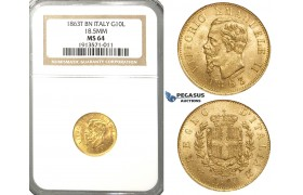 R42, Italy, V. Emanuele II, 10 Lire 1863 T-BN, Turin, Gold, NGC MS64
