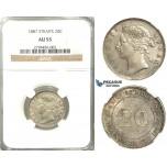 R420, Straits Settlements, Victoria, 20 Cents 1887, Silver, NGC AU55